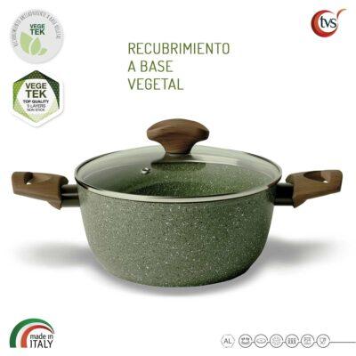 Cacerola italiana de 2 asas con recubrimiento vegetal antiadherente marca TVS