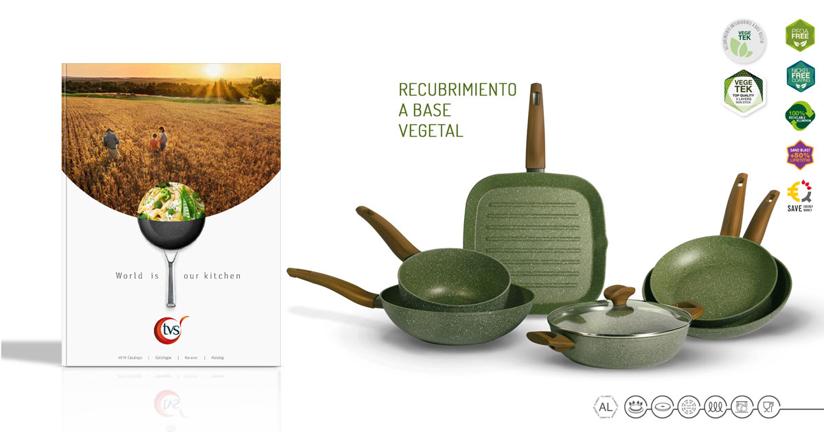 Catálogo TVS Ollas y Sartenes Italianas con recubrimiento antiadherente de origen vegetal