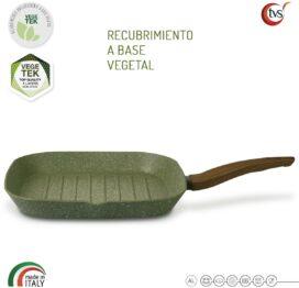 Grill Italiano de aluminio reciclado con recubrimiento antiadherente de origen vegetal marca TVS