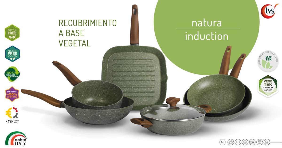 Ollas y Sartenes Italianas Ecológicas con Recubrimiento Antiadherente a Base Vegetal Línea Natura Marca TVS