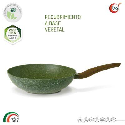 Wok italiano con recubrimiento vegetal antiadherente marca TVS