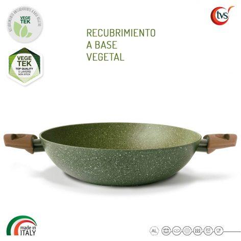 Wok italiano de 2 Asas con recubrimiento vegetal antiadherente marca TVS