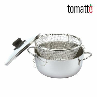 Olla de Acero Inoxidable con Cesta para Freír Marca Italiana Tomatto