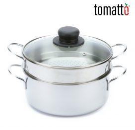 Olla de Acero Inoxidable con Bandeja para Cocción a Vapor Marca Italiana Tomatto