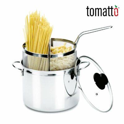 Olla de Acero Inoxidable con Doble Colador para Cocinar Pastas Marca Italiana Tomatto